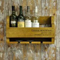 Rustic Farmhouse Wooden Wall Mounted Wine Rack